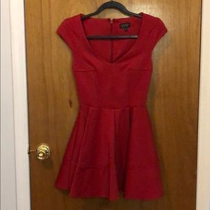 Topshop Red Fit & Flare Dress